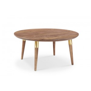 Moon Round Coffee Table With Brass Tubes